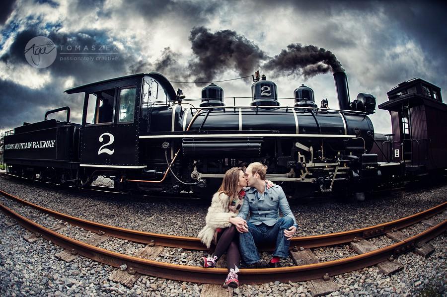 K-J and Alex vintage railway engagement